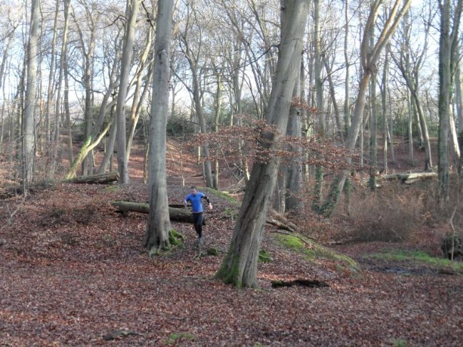 Tim Beale demonstrating the runnability of Burnham Beeches